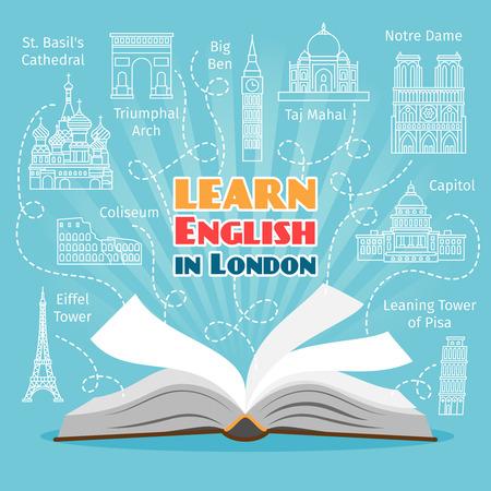 Illustration pour Abroad Language School. Studying foreign languages concept. Vector illustration - image libre de droit