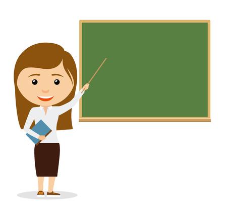 Illustration pour Teacher on lesson. Female teacher at the chalkboard. Vector iluustration - image libre de droit