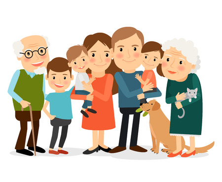 Illustration for Happy family portrait. Father and mother, son and daughter, grandparents in one picture together. Vector illustration. - Royalty Free Image