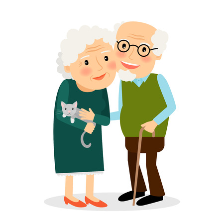 Illustration pour Old couple. Grandmother and grandfather standing together. Senior family with cat. Vector illustration. - image libre de droit