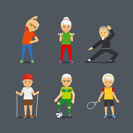 Ilustración de Old people sport activities. Adults people sport lifestyle icons. Vector illustration - Imagen libre de derechos