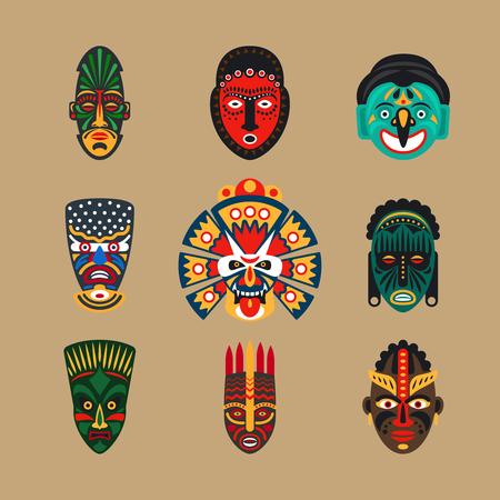 Ethnic mask icons or inca flat masks. Tribal ethnic masks illustration