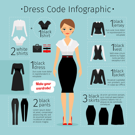 Illustration pour Business woman clothes infographics. Female Business dress code. Vector illustration - image libre de droit