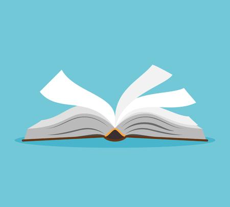 Illustration pour Opened book illustration. Open book with pages fluttering. Vector illustration - image libre de droit