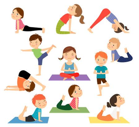 Illustration pour Children yoga. Kids doing yoga in different yoga poses. Vector illustration - image libre de droit