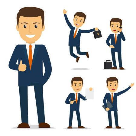 Ilustración de Businessman cartoon character in different poses. Vector illustration - Imagen libre de derechos