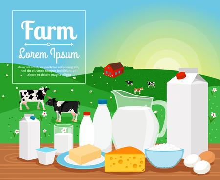 Illustration pour Milk farm dairy products on rural landscape with cows vector illustration - image libre de droit