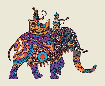 Ilustración de Indian ornate maharajah on the elephant. Vector illustration - Imagen libre de derechos