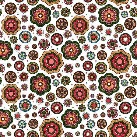 Illustration pour Mandala style flowers pattern with white background. Vector illustration - image libre de droit