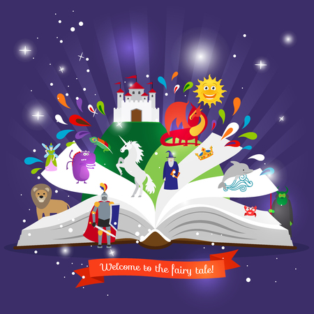 Illustration for Fairy tale book. Open book with cartoon fairy tales characters vector illustration - Royalty Free Image