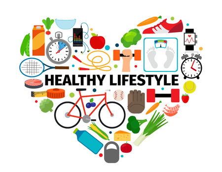 Ilustración de Healthy lifestyle heart emblem. Health, healthy food and active daily routine flat icons vector banner isolated on white background - Imagen libre de derechos