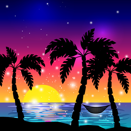Illustration pour Caribbean sea view with palm tree silhouettes and ocean sunset vector illustration - image libre de droit