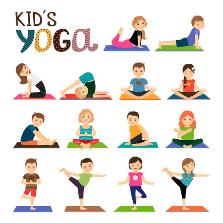 Illustration pour Kids yoga vector icons set. Smiling children in different yoga poses collection on white background - image libre de droit