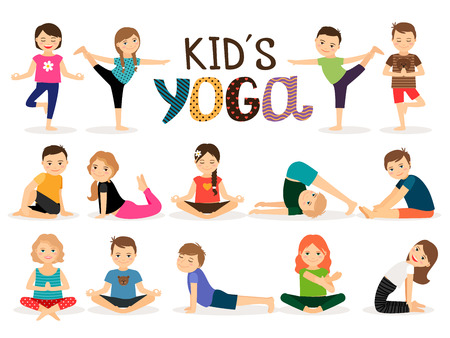 Illustration pour Young kids in different yoga poses on white background. Vector illustration - image libre de droit