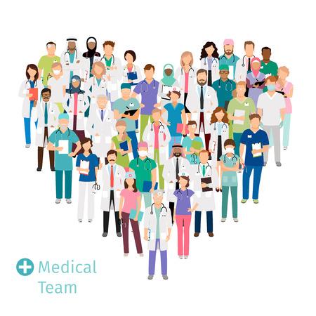 Ilustración de Healthcare medical team in shape of heart. Hospital staff health professionals group in uniform for your concepts. Vector illustration - Imagen libre de derechos