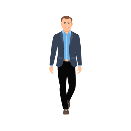 Illustration pour Businessman in casual clothes isolated vector illustration on white background - image libre de droit