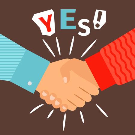 Illustration pour Handshake diverse casual hands meeting, welcome or success shaking sign vector illustration - image libre de droit