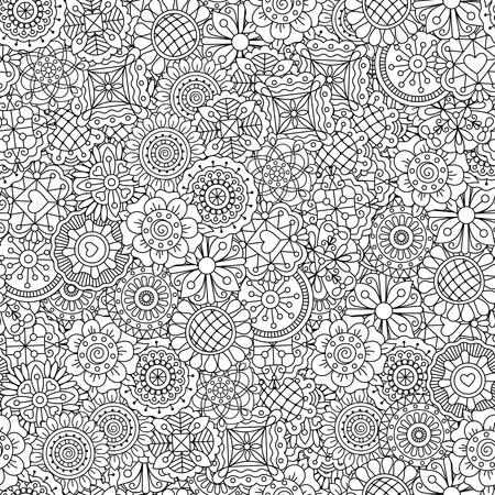 Illustration pour Different shape ornamental flowers pattern. Outline decorative black and white adult floral coloring background. Vector illustration - image libre de droit