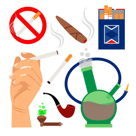 A smoking tobacco icons. Set of cigarettes and hookah, cigar and no smoking sign isolated on white background. Vector illustration