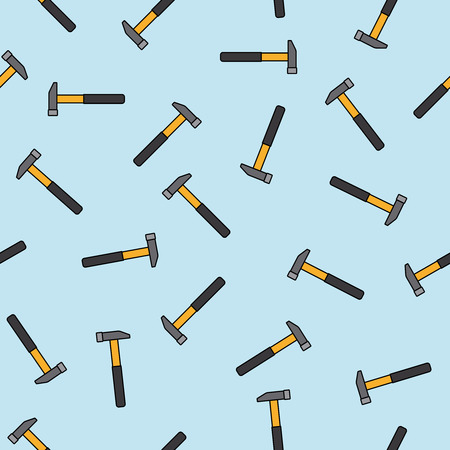 Hammers pattern with light blue background. Vector illustration