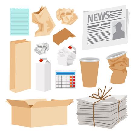 Illustration pour Paper trash icons collection. Vector icons of carton boxes, paper cups, stack of newspapers, milk packages - image libre de droit