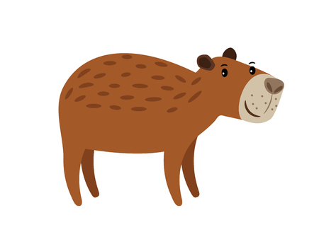 Illustration pour Capybara cute brown cartoon animal icon isolated on white background, vector illustration - image libre de droit