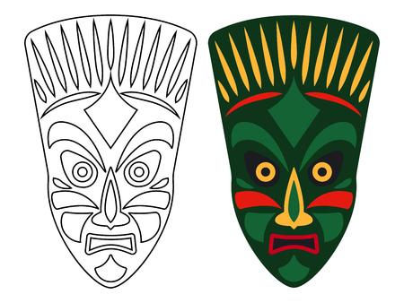 Ilustración de Tribal african masks, color and outline masks isolated on white background, vector illustration - Imagen libre de derechos