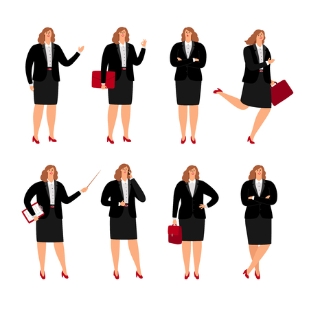 Illustration for Businesswoman poses. Standing plussize business woman person in corporate skirt, cartoon female office lady - Royalty Free Image