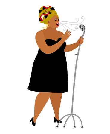Afro american woman performance, songstress jazz vocal in microphone, singer entertainment, vector illustration