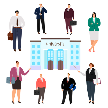 University education vector concept. People of different professions, university graduates isolated on white background. School and university, people profession educational illustration