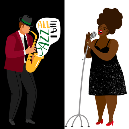 Jazz musician and afroamerican singer vector banners template. Jazz songstress performance, headliner vocalist on concert illustration