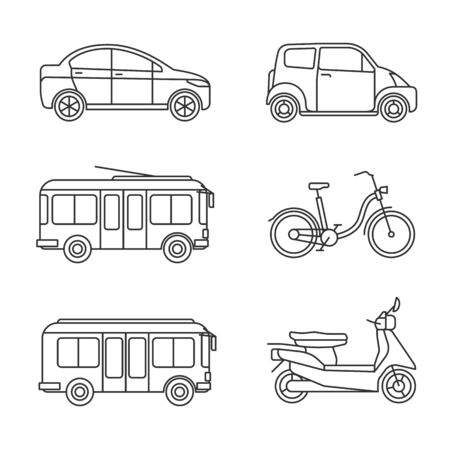 Illustration for City transport thin line icons. Vector linear transportation icon set, outline car and bus images, bike and taxi, motorcycle and trolley isolated on white background - Royalty Free Image