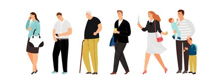 Illustration pour Different people line. Young father, cute girl and old man. Isolated persons queue vector illustration - image libre de droit