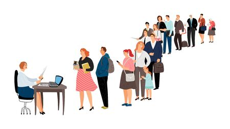 Illustration pour People queue. Service center, info point or reception. Woman man elderly waiting in line vector illustration - image libre de droit