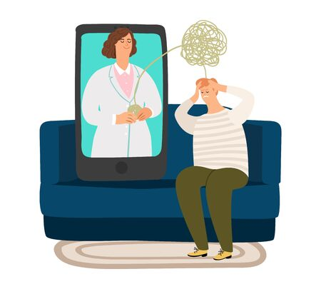 Illustration pour Psychologist online. Psychotherapy doctor, confused thoughts and problems in man. Sad male sitting on sofa and consulting on telemedicine vector illustration - image libre de droit