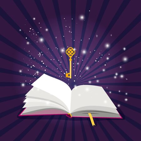 Illustration pour Magic open book. Bright sparkling lights illuminating pages of cartoon book with yellow bookmark, golden key above page on dark background - image libre de droit