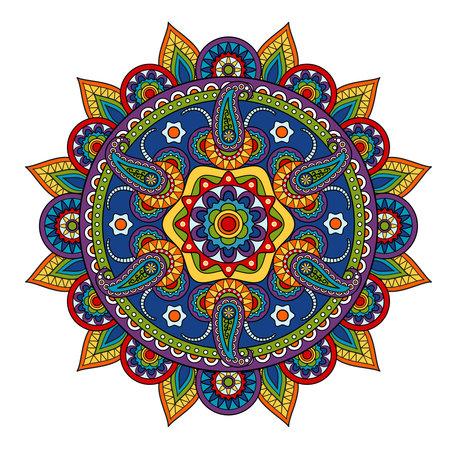 Illustration pour Round Paisley Pattern, circle vector element in Indian style - image libre de droit