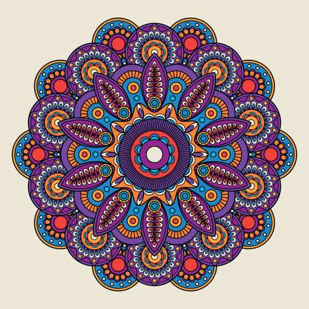Illustration pour Indian doodle boho hippie mandala. Vector illustration - image libre de droit
