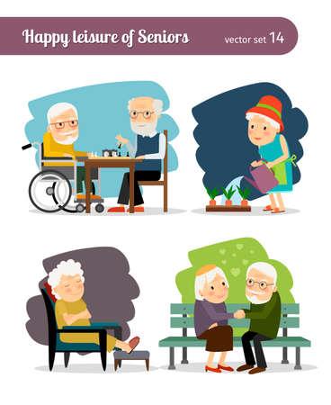Illustration pour Seniors happy leisure. Grandmothers and grandfathers communicate and spend leisure - image libre de droit