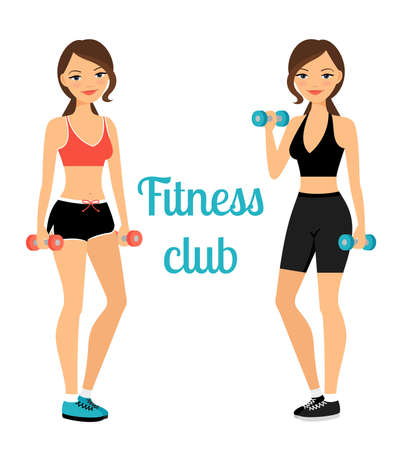 Illustration for Fitness club advertising banner template with two young ladies. Vector illustration - Royalty Free Image