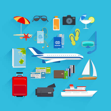 Illustration for Travel and summer vacation, tourism and journey flat icons - Royalty Free Image