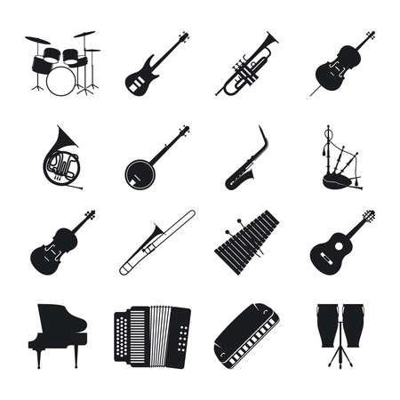 Illustration pour Musical instrument silhouettes for jazz music vector icons set - image libre de droit