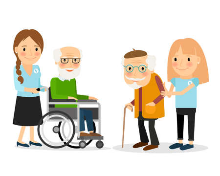 Illustration pour Caring for seniors, helping moving around and spending time together. Vector illustration. - image libre de droit