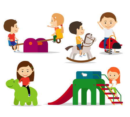 Illustration pour Kids playing at playground, sliding and swinging. Vector illustration - image libre de droit