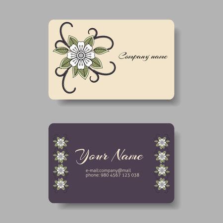 Illustration pour Floral pastel business card collection. Vector illustration - image libre de droit