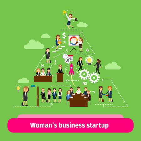 Illustration pour Professional women business structure. Businesswomens startup group vector illustration - image libre de droit