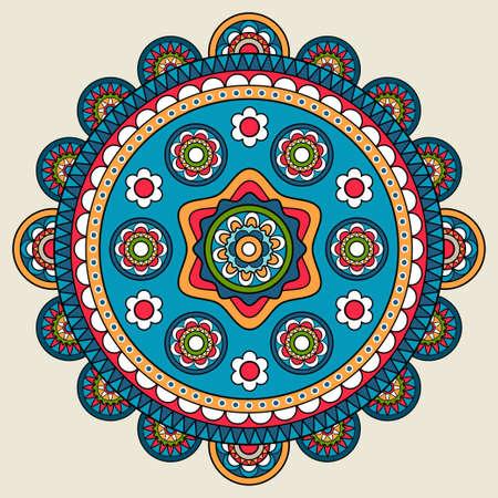 Illustration pour Doodle boho floral round motif. Vector illustration - image libre de droit