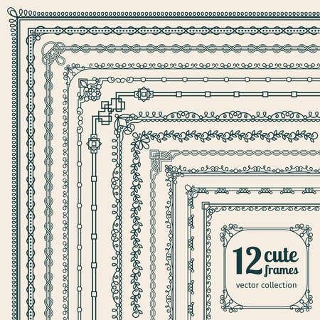 Illustration for Corner borders vector illustration. Frames corners and frames borders elements - Royalty Free Image