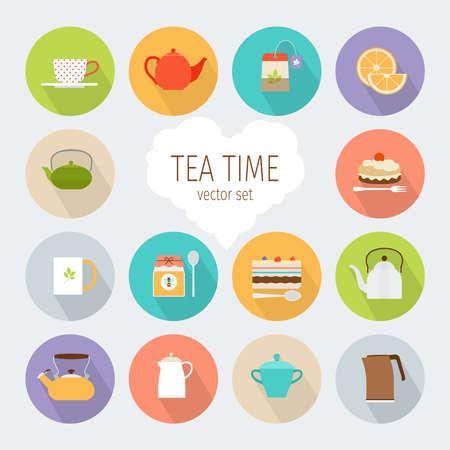 Illustration pour Tea flat icons - image libre de droit