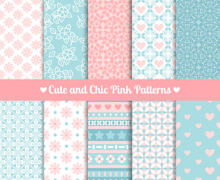 Illustration pour Cute and Chic Pink and blue Patterns. Endless texture for paper or scrap booking - image libre de droit